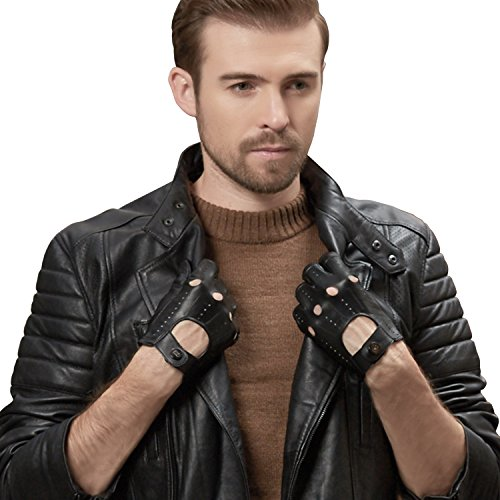 GSG Mens Punk Rock Gloves Genuine Leather Gloves Perforated Fitness Gloves Cool Driving Cycling Gloves for Men Black 9.5 by GSG (Image #7)