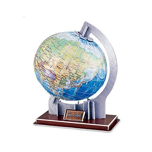 ZValueDesign World Globe Jigsaw 3D Puzzle, Earth Tellurion, Easy Fit, for Kids and Adults, Educational Construction Toy ()