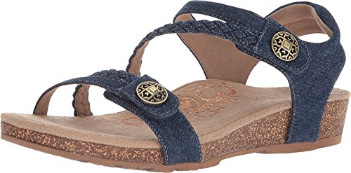 Aetrex Women's Jillian Q Braid Strap Dress Sandal, Denim, 9.5 M US 40 EU
