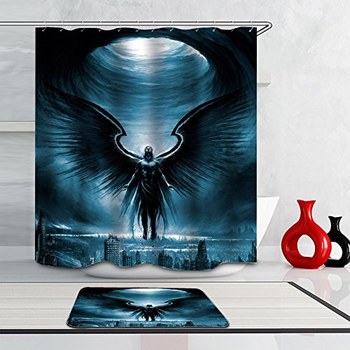 Manbaout Angel Knight with Black Majestic Wings Polyester Fabric Waterproof Shower Curtain (60