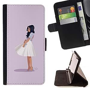 BullDog Case - FOR/HTC One M9 / - / GLAMOROUS CHIC GIRL OUTFIT FASHION SKIRT WHITE /- Monedero de cuero de la PU Llevar cubierta de la caja con el ID Credit Card Slots Flip funda de cuer