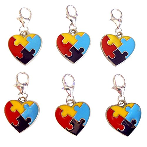 rome Awareness Puzzle Piece Heart Clip On Lobster Clasp Charms Pack of 6 ()