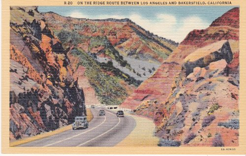 1936 Highway between Los Angeles and Bakersfield California Postcard Vibrant / Hand Colour's - Colortone Los Angeles