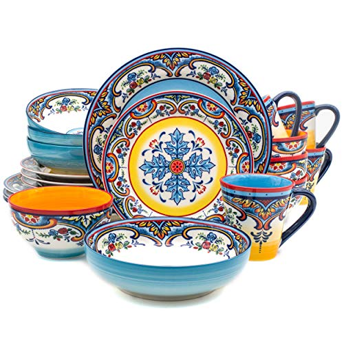 - Euro Ceramica Zanzibar Collection Vibrant 20 Piece Oven Safe Stoneware Dinnerware Set, Service For 4, Spanish Floral Design, Multicolor