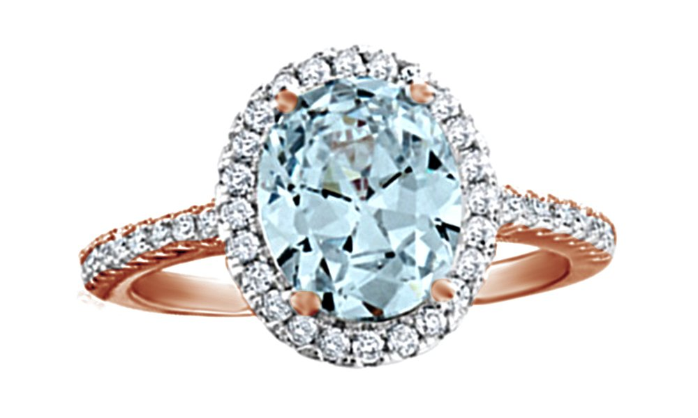 Jewel Zone US Simulated Aquamarine & Cubic Zirconia Halo Ring in 14k Rose Gold Over Sterling Silver