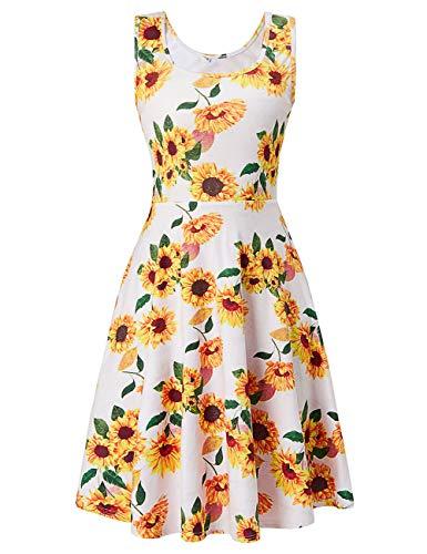 Uideazone Women Sleeveless Scoop Neck Sunflower A-Line Dress