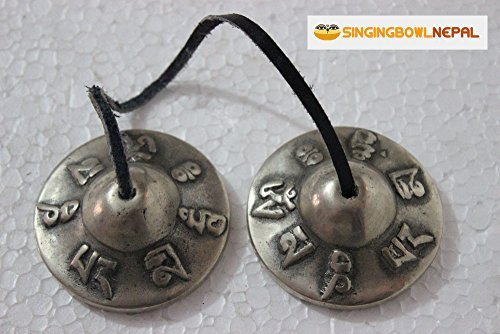 2.5'' Tibetan Tingsha Meditation Bell - Om Mani Padme Hum Beautifully Embossed on the Surfaces - Hand Tuned & Crafted in Nepal by Singing Bowl Nepal