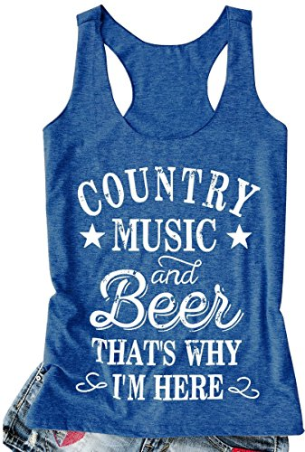 kikisa Women Tank Top Country Music and Beer That's Why I'm Here Vest Sleeveless T Shirt (Medium, Blue2)