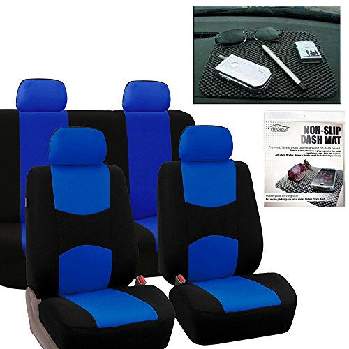 FH GROUP FB050114 Full Set Flat Cloth Car Seat Covers, Blue / Black w. FH1002 Non-slip Dash Grip Pad Mat- Fit Most Car, Truck, Suv, or Van