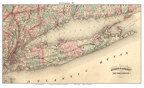 (Long Island 1875 Map by Asher & Adams REPRINT - LIP)