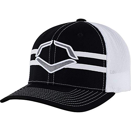 Wilson Sporting Goods Evoshield Grandstand Flexfit Hat, Black/White, Large/X-Large(7 3/8 - 7 5/8)