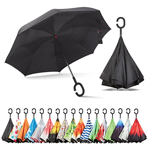 Sharpty Inverted Umbrella, Double Layer Windproof Umbrella, Reverse Umbrella, Umbrella with UV Protection, Upside Down Umbrella with C-Shaped -