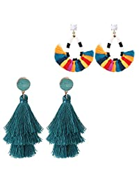 Jstyle Bohemian Tassel Earrings Layered Fringe Drop Tiered Dangle Tassel Stud Earrings Women Gifts
