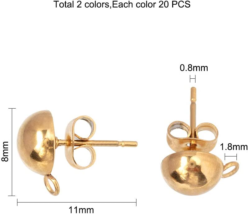 Stift 0.8mm 20 Paare Golden /& Edelstahl Farbe Ohrring Ohrstecker F/ür Schmuckherstellung Fundst/ücke Loch 1.8mm Halbrunde Ohrringe Mit Schlaufe UNICRAFTALE 40 St/ück Edelstahl Ohrstecker Befunde