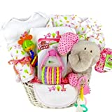Elephant & Giraffe New Baby Girl Gift Basket - Shower Gift Idea for Newborn