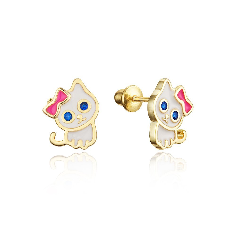 14k Gold Plated Enamel Cat Kitten Cubic Zirconia Girls Screwback Earrings with Sterling Silver Post Lovearing BE3405