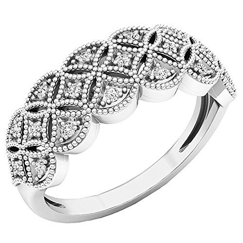 - Dazzlingrock Collection 0.10 Carat (ctw) Sterling Silver Round Diamond Ladies Vintage Style Wedding Band 1/10 CT, Size 7