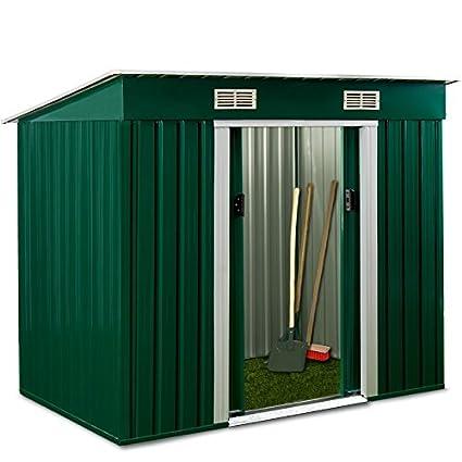 Vertiente del jardín 3,1m² cobertizo de acero galvanizado verde chapa from AS-S