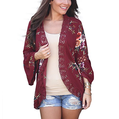 EverChic Womens Boho Irregular Long Sleeve Wrap Kimono Cardigans Casual Coverup Coat Tops Outwear S-2XL