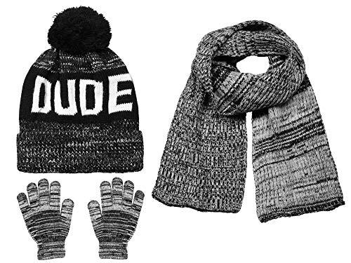 Polar Wear Boys Knit Hat, Scarf And Gloves Set- Black