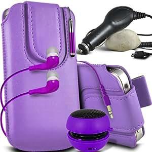 ONX3 Wiko Ozzy Leather Slip cuerda protectora magnética de la PU Pull In Pouch Case lanzamiento rápido con Mini capacitivo Stylus Pen retráctil, 3.5mm en auriculares del oído, mini altavoz recargable Cápsula, 12v Micro USB cargador de coche (púrpura)
