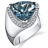 7.00 Carats London Blue Topaz Ring Sterling Silver Concave Trillion Cut Size 8