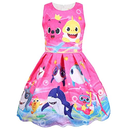Coralup Toddler Girls Baby Shark Sleeveless Party Dress(Rose,5-6 Years) -