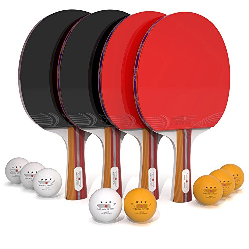Ping Pong Paddle Set (4-Player Bundle) 4 Ping Pong Paddles, 8 ABS Tournament Level Balls | Convenient Storage Bag | Full Table Tennis Set | Advanced Speed, Control, Spin | Indoor & Outdoor Play (Table Game Plywood)