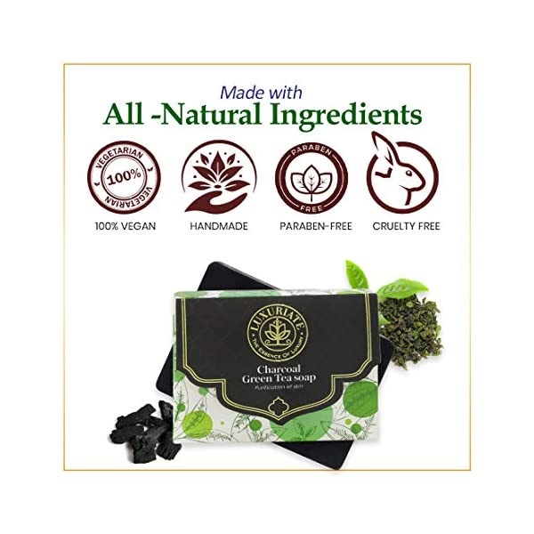 LUXURIATE Naturally Beautiful Handmade Activated Charcoal and Green Tea Soap for Clear Skin Anti Acne and Tan Removal… 2021 June Ingredients: Glycerin Soap Base, Activated Charcoal Powder, Green Tea Extract, Fragrance, NO COLOUR A purifying combo of activated charcoal and Green Tea clears skin from all the toxins, making it perfect to fight from acne to zit and everything in between. IDEAL FOR ALL SKIN TYPES: LUXURIATE Charcoal Gree tea soap is suitable for all skin types as it helps to retain natural moisture to damaged skin, soothes dry skin, Reduce Oily Skin, Provides Flawless Skin,Charcoal Soap For Acne,Reduces Pore Size,Makes Skin Tighter And Firmer and leaves your skin feeling fresh and soft.