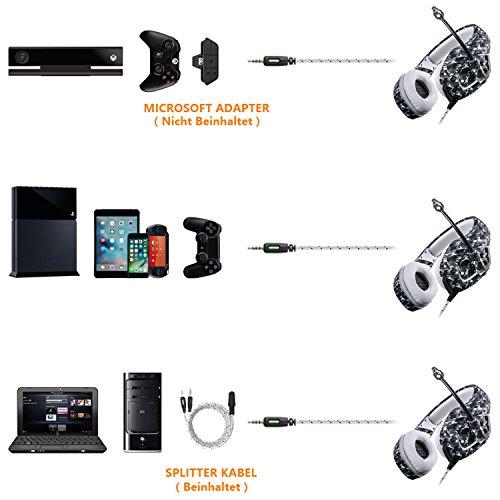 Auriculares Gaming PS4, MillSO Nuevo K1 Cascos Gaming para PC PlayStation 4 Xbox One Nintendo Switch con Adaptador Divisor de Mic y Audio 3.5mm - Camuflaje: ...