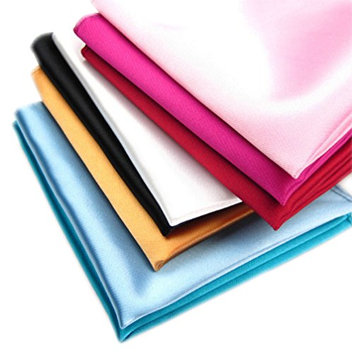 3-Pack Mens Small Solid Color Satin 8 Pocket Squares Wedding Handkerchief
