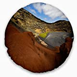 Designart CU10741-16-16-C in El Golfo Lanzarote Spain Musk Pond' Seashore Throw Cushion Pillow Cover for Living Room, Sofa, 16'' Round