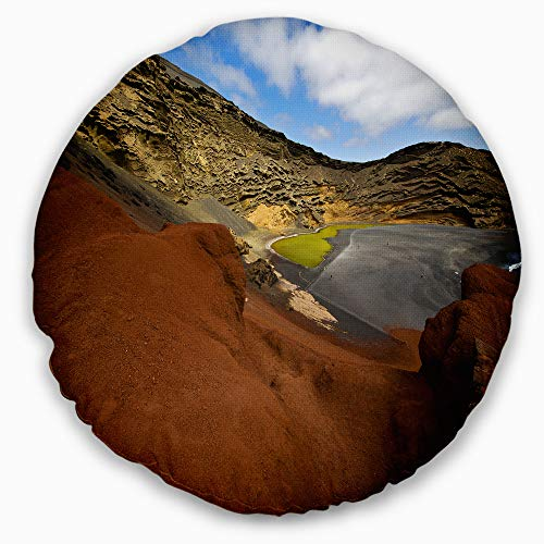 Designart CU10741-20-20-C in El Golfo Lanzarote Spain Musk Pond' Seashore Throw Cushion Pillow Cover for Living Room, Sofa, 20'' Round, Pillow Insert + Cushion Cover Printed on Both Side by Designart