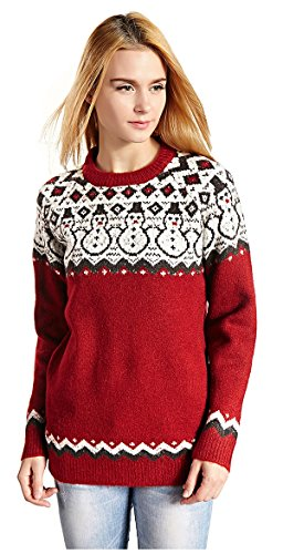 Red Snowman Pullover for Women