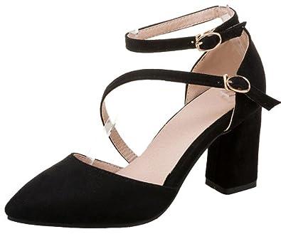 c108f38011d Amazon.com | Mofri Women's Sexy Buckle Strappy Block High Heel ...