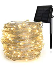 HEEPOW Upgraded Solar String Lights (200LED, 3-Strand Copper Wire, 8 Modes), Coloured 72 ft/22m Solar Fairy Lights, Waterproof Outdoor String Lights for Garden, Christmas(4 Colors)