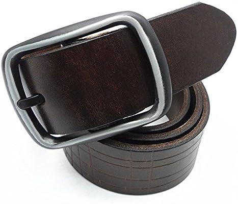 Pantalones Cinturon Cinturones de Vestir para Hombres Cuero Genuino Caja de Regalo de Hebilla Ancha de aleación de 1.5