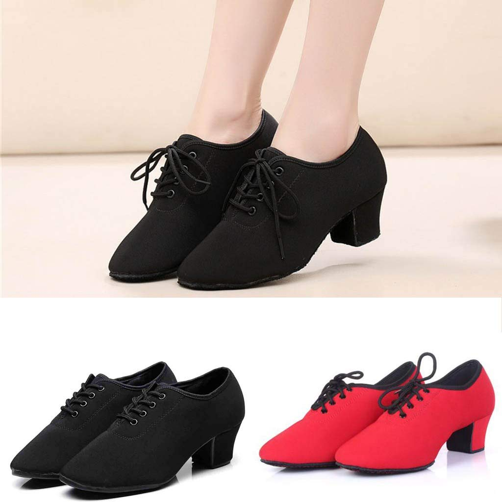 Womens Latin Dance Shoes Lace Up Cloth Dancing Shoes Toe Closed Square Heel Jazz Shoes for Women /& Girls Modern Dance Shoes for Performance Practice