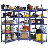 Racking Solutions - Sistema de almacenamiento en esquina de acero, cargas pesadas, 1 unidad estantería de esquina (5…