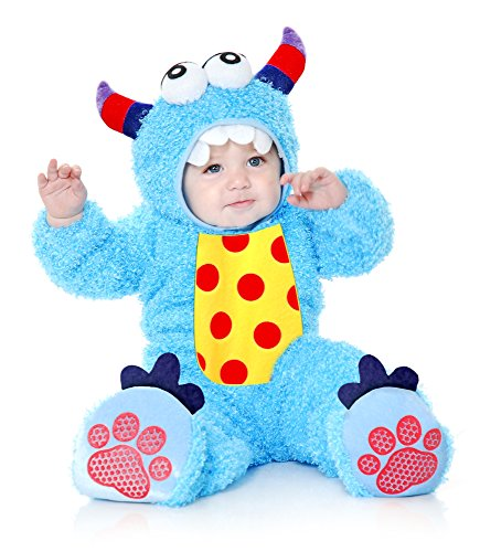 Charades Little Monster Madness Costume Jumpsuit, Hood, and Footsies Baby Costume, -Blue, -
