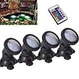 Remote control Submersible Lamp Pond lights 36 LED Colorful Waterproof Aquarium Spotlight Multi-color Decoration Landscape lamp for Swimming Pool Fountain Fish tank Water Garden Rockery Yard (4 pack)