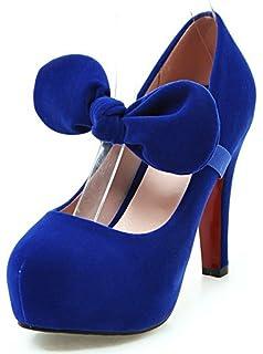 SHOWHOW Damen Schleife Stiletto Runde Pumps Absatzschuh Blau 42 EU