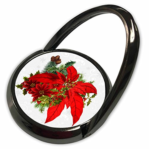 3dRose Doreen Erhardt Christmas Collection - Red Christmas Poinsettia with Holiday Greenery on Snowflake Background - Phone Ring (phr_202980_1) ()