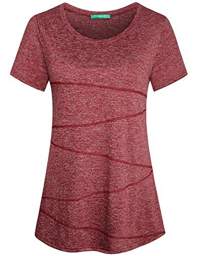 Kimmery Ladies Exercise Clothes Womens Soft Comfy Athletic Wear Basic Short Sleeve Shirt Feminine Round Neck Fitness Running Exercise Sports Tops and Blouses Red Medium