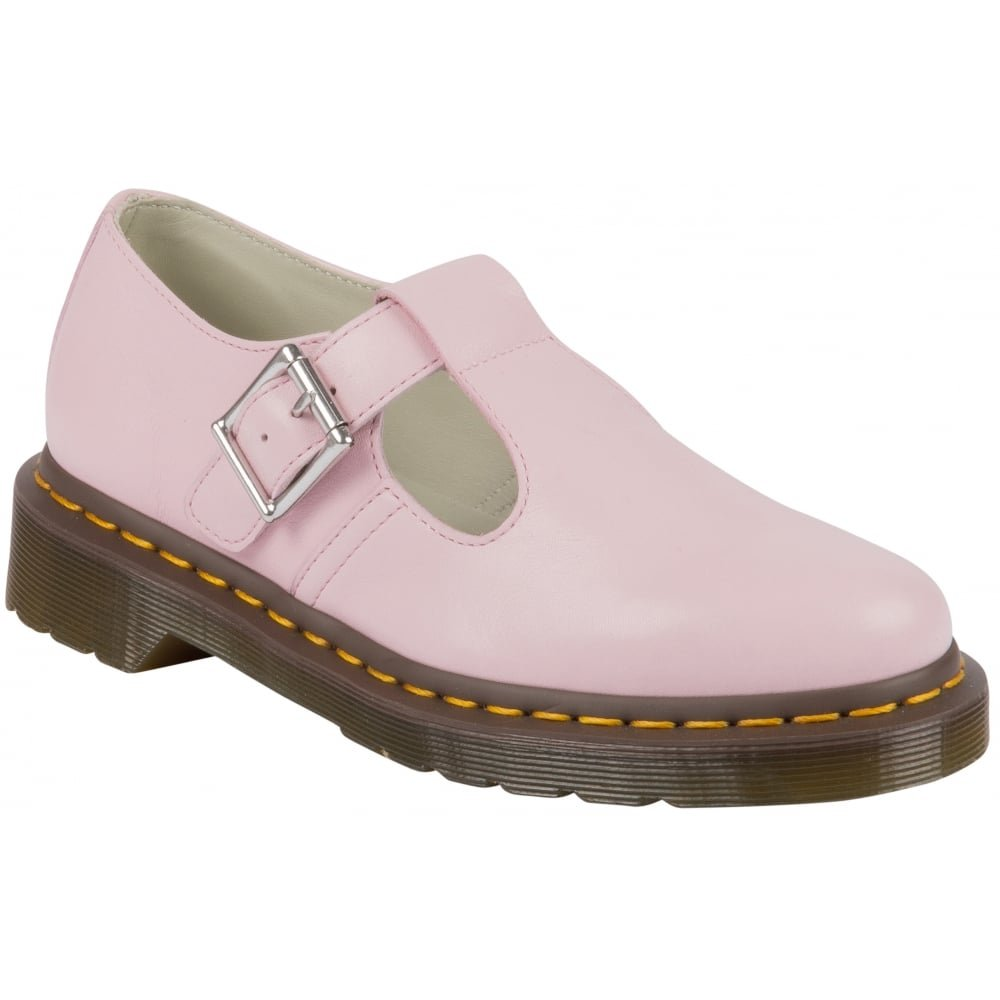 Dr. Martens Women's Polley T-Bar Mary Jane Flats, Pink Leather, 8 M UK, 10 M US