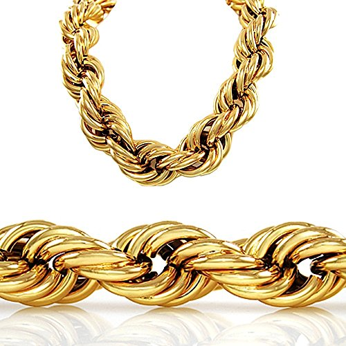 [30 Inch 20mm Gold Style Thick Rope Hip Hop Chain Necklace] (90s Hip Hop Costume)