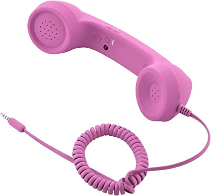 Retro Handset Old School Style Adjustable Tone Phone Telephone Receiver Microphone Earphone 3.5mm Socket for iOS Android Smartphones Mobile Cell Phones Pink