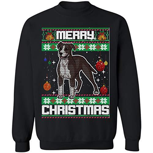 Xmas American Pit Bull Terrier Dog Ugly Christmas Crewneck Sweatshirt (Black - L) ()