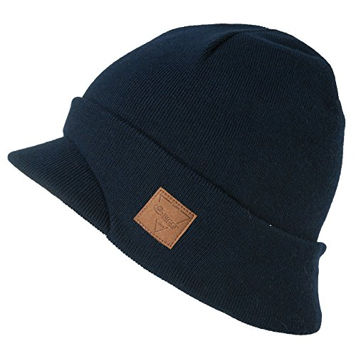 SIGGI Mens Winter Jeep Beanie Hat Cap Wool Knit with Visor Bill for Women Lady Navy Blue Large 88264_navy
