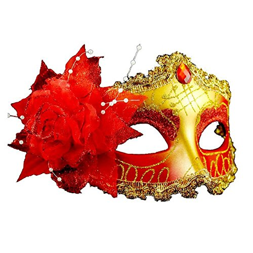 Venetian Style Silver Eye Costume Masquerade Mardi Mask (Beads Rose Red -